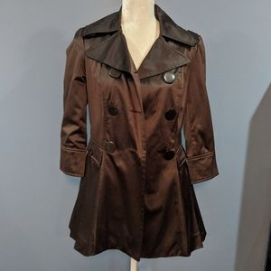 Bebe Metallic Brown Trench Coat | size Small